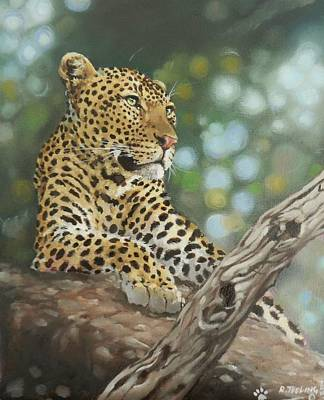 South African Artist Painting - Leopard by Robert Teeling