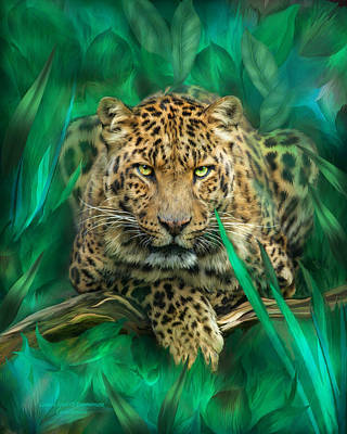 Jaguar Art Mixed Media - Leopard - Spirit Of Empowerment by Carol Cavalaris