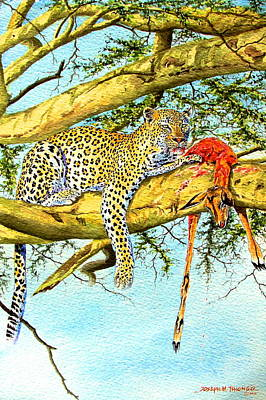 Painting - Leopard With A Kill by Joseph Thiongo
