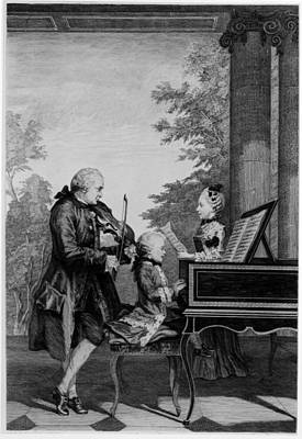 Playing Drawing - Leopold Mozart And His Two Children by Louis Carrogis Carmontelle