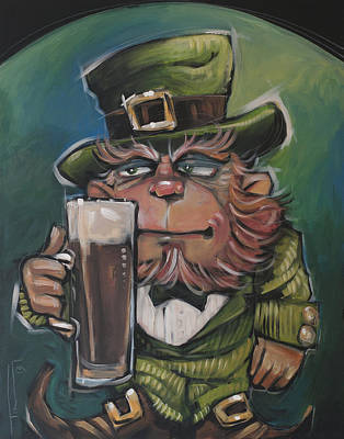 Painting - Leprechaun About To Enjoy An Irish Stout by Tim Nyberg