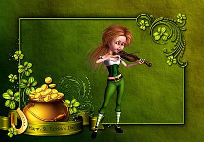 Leprechaun Girl Playing The Voilin Original