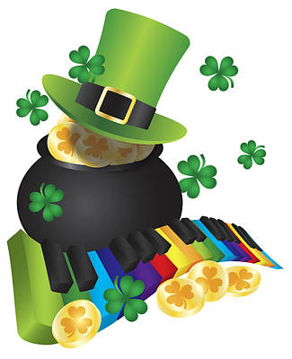 Photograph - Leprechaun Hat With Piano Keys And Pot Of Gold by Jit Lim