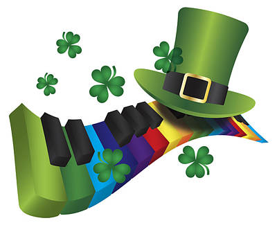 Photograph - Leprechaun Hat With Rainbow Color Piano Keyboard by Jit Lim