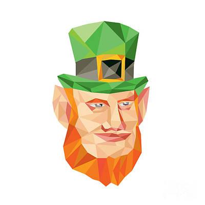 Irish Folklore Digital Art - Leprechaun Head Low Polygon by Aloysius Patrimonio