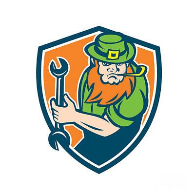 Irish Folklore Digital Art - Leprechaun Mechanic Spanner Shield Retro by Aloysius Patrimonio