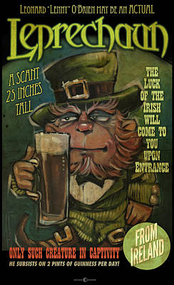 Painting - Leprechaun Sideshow Poster by Tim Nyberg