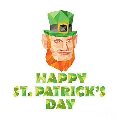 Leprechaun Digital Art - Leprechaun St Patrick's Day Low Polygon by Aloysius Patrimonio