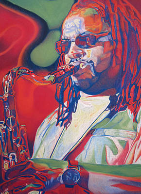 The Dave Matthews Band Drawing - Leroi Moore Colorful Full Band Series by Joshua Morton
