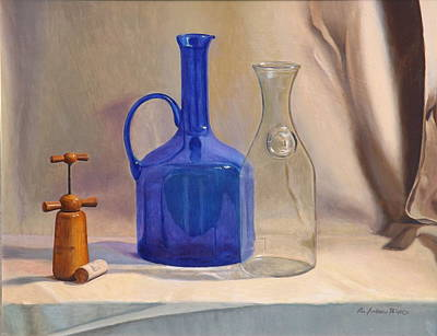 Cork Screw Painting - Les Ami Du Vin by Lee Bianco