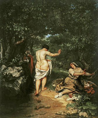Les Baigneuses Art Print by Gustave Courbet