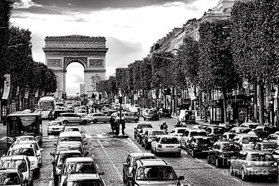 Traffic Photograph - Les Champs Elysees  by Olivier Le Queinec