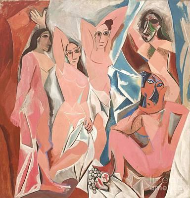 Demoiselles Painting - Les Demoiselles D' Avignon by Reproduction