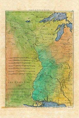 Les Etats Unis 1785 French Fur Trade Map Original by Lisa Middleton
