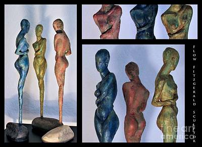 Sculpture - Les Filles De L'asse 1 Triptic Collage by Flow Fitzgerald