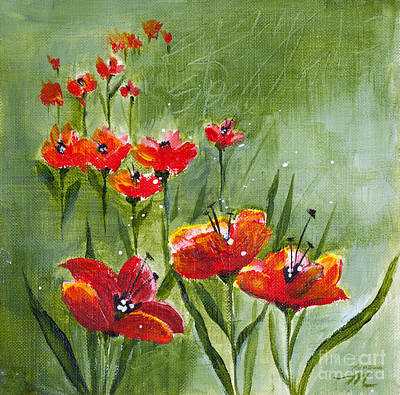 Painting - Les Fleurs Rouges by Michelle Wiarda-Constantine