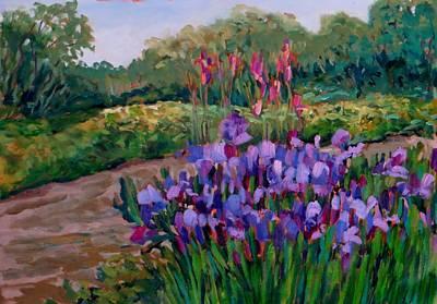 Painting - Les Iris Bleus by Liliane Fournier
