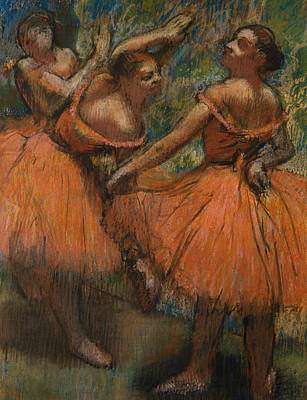 Les Jupes Rouge Art Print by Edgar Degas