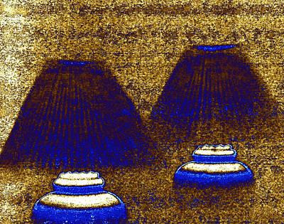 Luminous Digital Art - Les Lampes Bleues by Will Borden