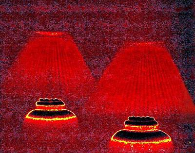 Digital Art - Les Lampes Rouges by Will Borden