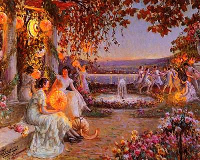 Art Print featuring the painting Les Lampions   by Delphin Enjolras