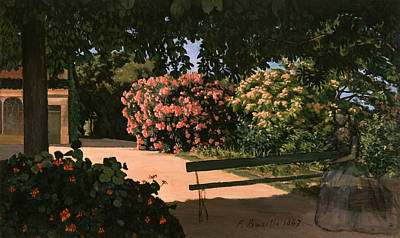 Impressionist Photograph - Les Lauriers Roses, 1867 Oil On Canvas by Jean Frederic Bazille