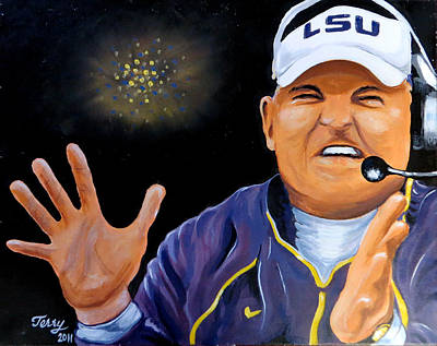 Painting - Les Miles Clapping by Terry J Marks Sr