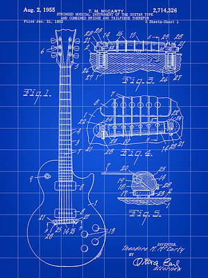 Music Digital Art - Les Paul Guitar Patent 1953 - Blue by Stephen Younts