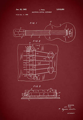 Les Paul Guitar Patent 1962 Art Print by Mark Rogan