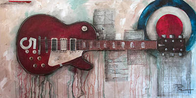 Keith Moon Painting - Les Paul Number 5 by Sean Parnell
