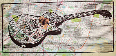 Lino Drawing - Les Paul On Austin Map by William Cauthern