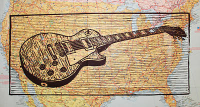 Drawing - Les Paul On Usa Map by William Cauthern