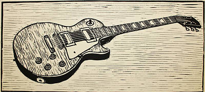 Lino Drawing - Les Paul by William Cauthern