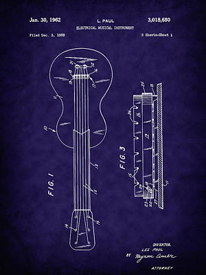 Digital Art - Les Paul's 1962 Solid Body Electric Guitar Patent by Barry Jones