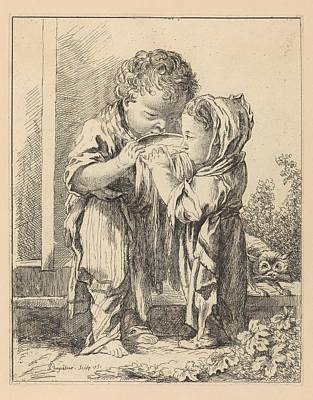 Les Petits Buveurs De Lait The Little Art Print by Madame la Marquise de Pompadour
