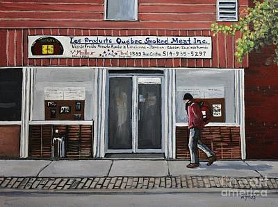 Montreal Places Painting - Les Produits Quebec Smoked Meat Inc by Reb Frost