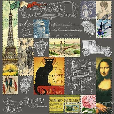 Eiffel Tower Digital Art - Les Timbres 3 by Marion De Lauzun