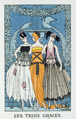Les Trois Graces Art Print by Georges Barbier