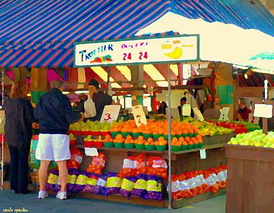 Montreal Painting - Les Trottier Le Roi De La Banane Marche Jean Talon Fruit Market Montreal Art Scenes Carole Spandau by Carole Spandau