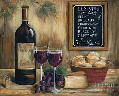 Wine-glass Painting - Les Vins by Marilyn Dunlap