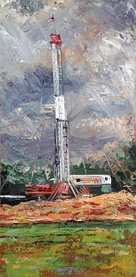 Oil Rig Painting - Les Wilson Rig by Spencer Meagher