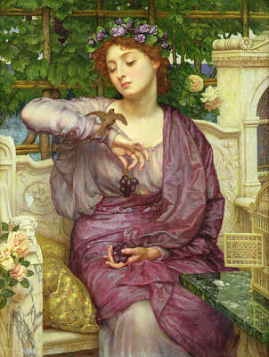 Sparrow Painting - Lesbia And Her Sparrow by Sir Edward John Poynter