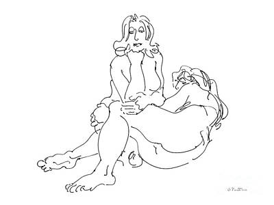 Drawing - Lesbian Artwork 4 by Gordon Punt