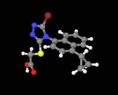 Lesinurad Gout Drug Molecule Art Print by Dr Tim Evans