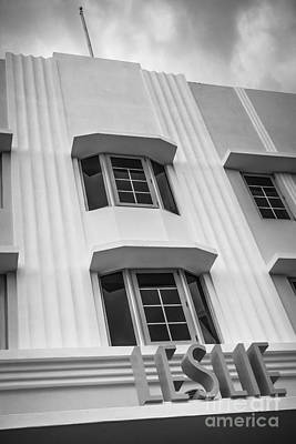 Leslie Hotel South Beach Miami Art Deco Detail 2 - Black And White Art Print by Ian Monk