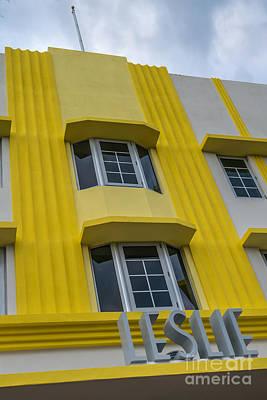 Leslie Hotel South Beach Miami Art Deco Detail 2 Art Print by Ian Monk