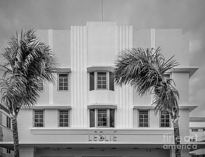 Leslie Hotel South Beach Miami Art Deco Detail 3 - Black And White Art Print by Ian Monk