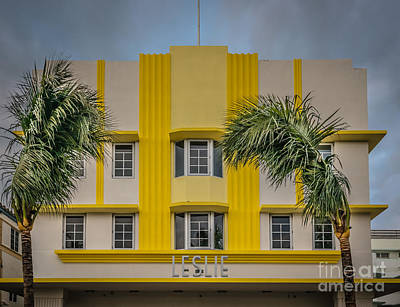 Leslie Hotel South Beach Miami Art Deco Detail 3 - Hdr Style Art Print by Ian Monk