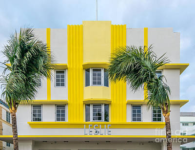 Leslie Hotel South Beach Miami Art Deco Detail 3 Art Print by Ian Monk