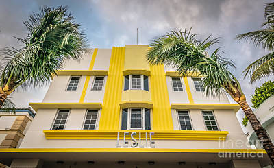 Leslie Hotel South Beach Miami Art Deco Detail - Hdr Style Art Print by Ian Monk